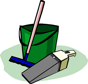 Graphical image of a pale, dustpan and a broom