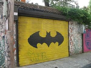 Batman logo in the garage door