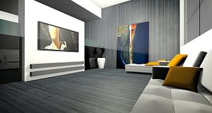 Wide living room